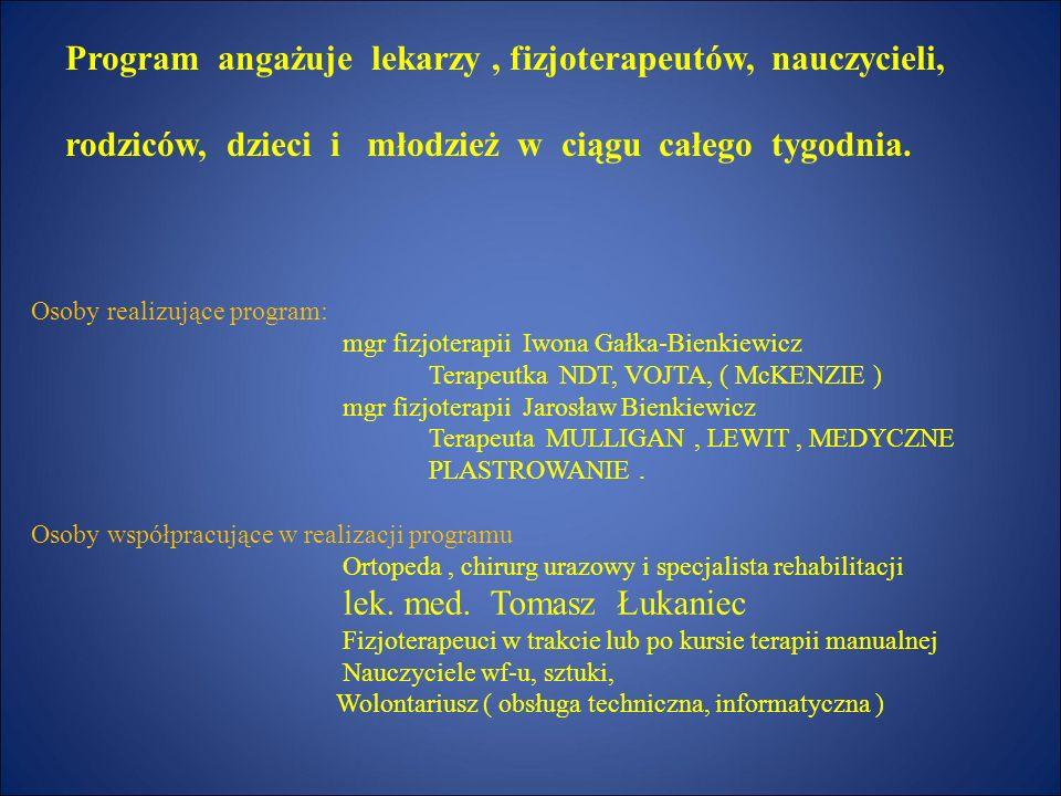 Prezentacja programu realizowanego w szkołach podstawowych i gimnazjach na terenie gminy Milicz PROFILAKTYKA PROBLEMÓW ODKRĘGOSŁUPOWYCH mgr fizjoterap