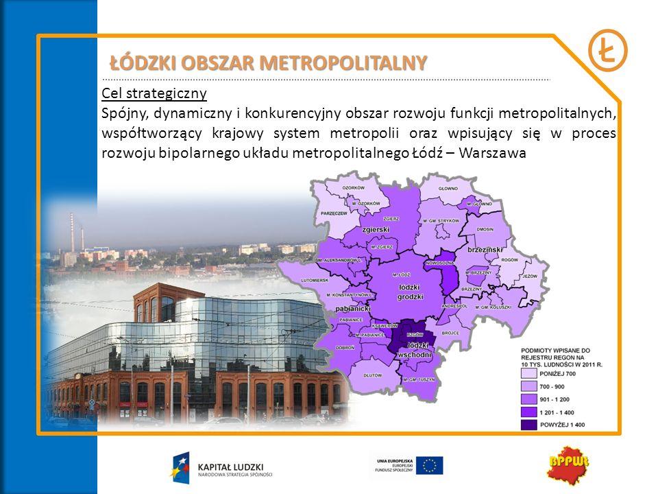 ŁÓDZKI OBSZAR METROPOLITALNY Cel strategiczny Spójny, dynamiczny i konkurencyjny obszar rozwoju funkcji metropolitalnych, współtworzący krajowy system