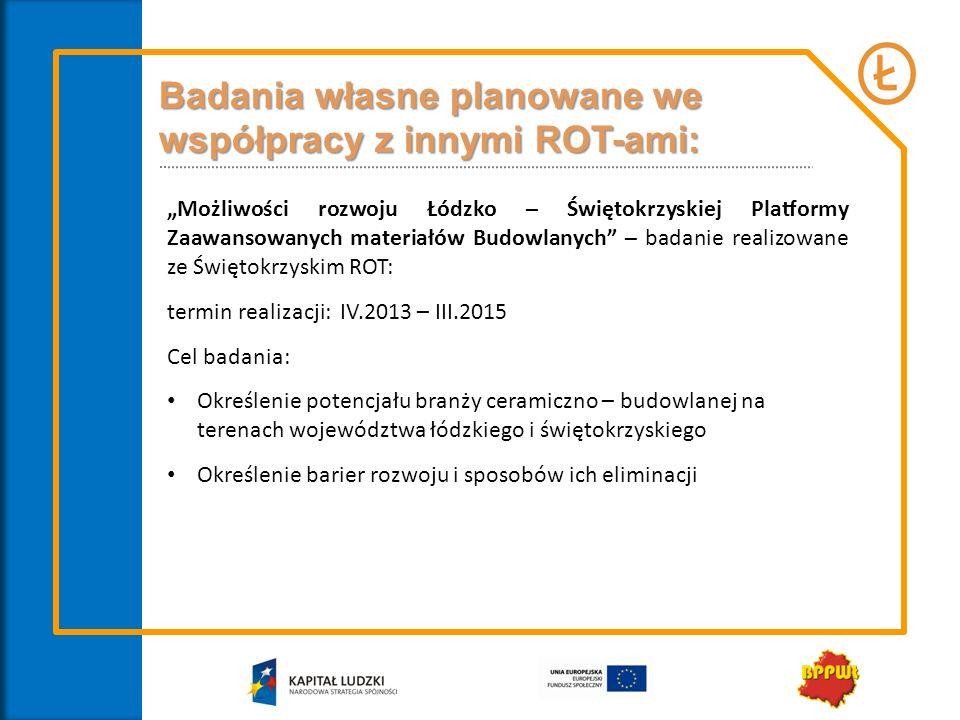 Badania własne planowane we współpracy z innymi ROT-ami: Możliwości rozwoju Łódzko – Świętokrzyskiej Platformy Zaawansowanych materiałów Budowlanych –