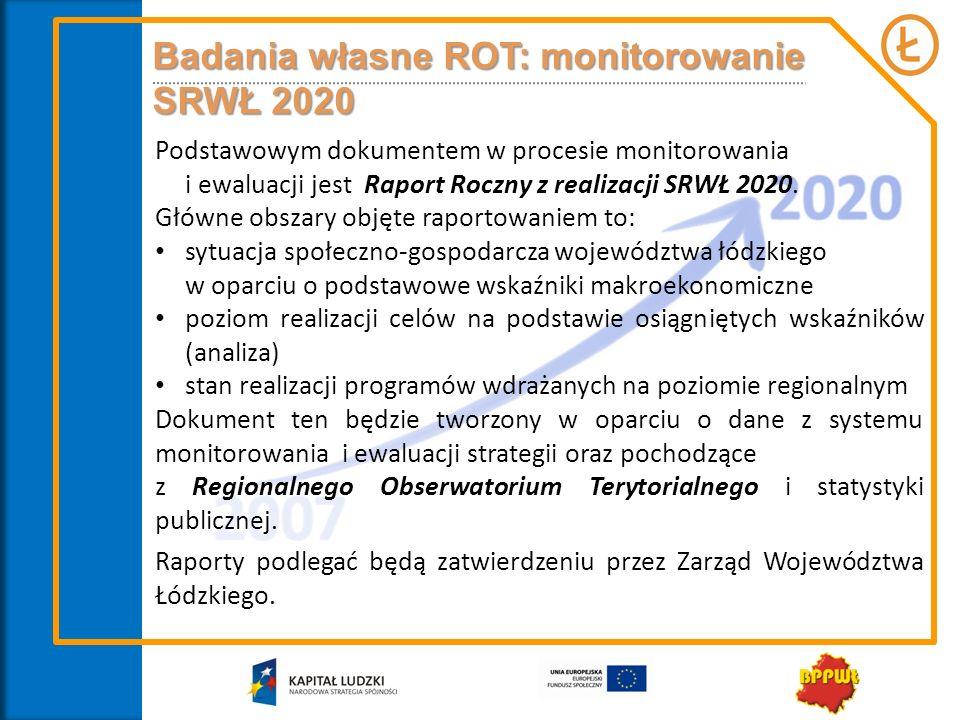 Podstawowym dokumentem w procesie monitorowania i ewaluacji jest Raport Roczny z realizacji SRWŁ 2020. Główne obszary objęte raportowaniem to: sytuacj