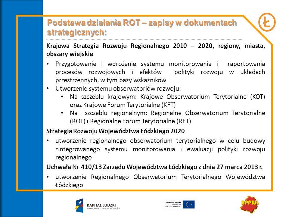 Podstawa działania ROT – zapisy w dokumentach strategicznych: Krajowa Strategia Rozwoju Regionalnego 2010 – 2020, regiony, miasta, obszary wiejskie Pr
