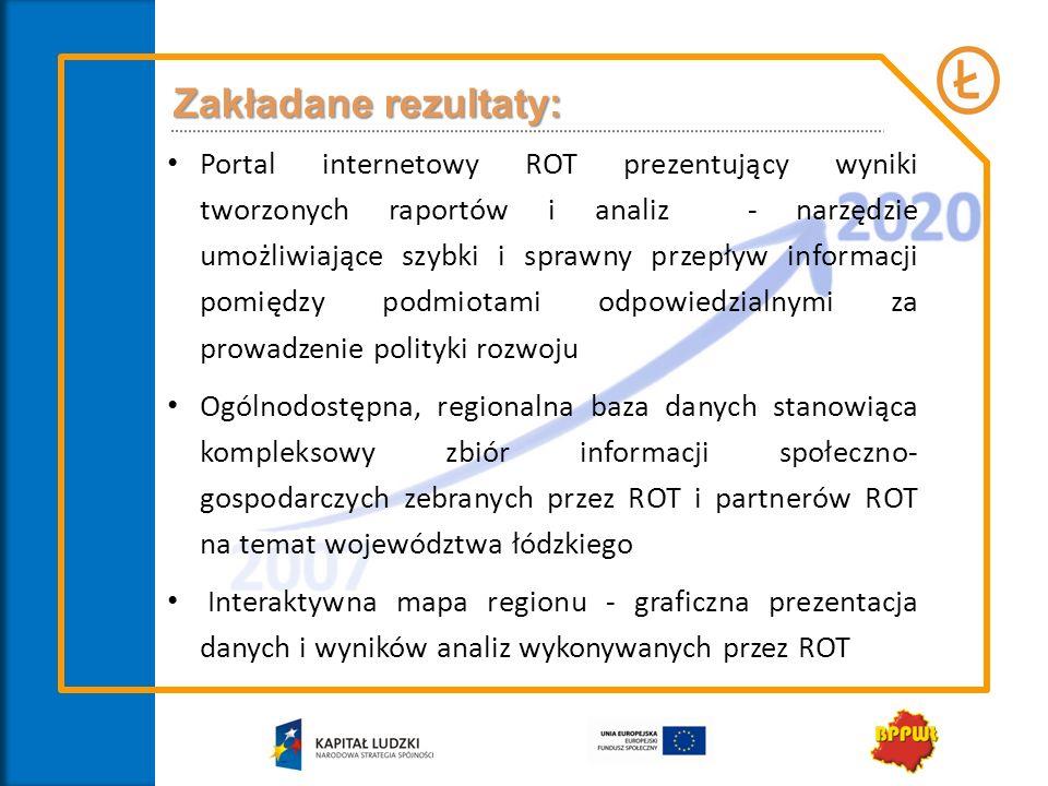 Zakładane rezultaty: Portal internetowy ROT prezentujący wyniki tworzonych raportów i analiz - narzędzie umożliwiające szybki i sprawny przepływ infor