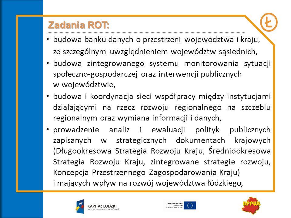 Zadania ROT: budowa banku danych o przestrzeni województwa i kraju, ze szczególnym uwzględnieniem województw sąsiednich, budowa zintegrowanego systemu