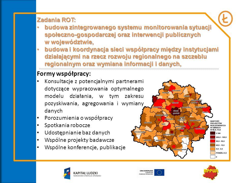 Zadania ROT: budowa zintegrowanego systemu monitorowania sytuacji społeczno-gospodarczej oraz interwencji publicznychbudowa zintegrowanego systemu mon