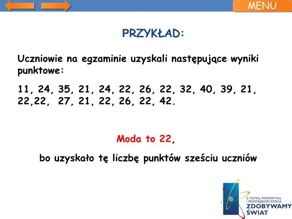 P RZYKŁAD: Uczniowie na egzaminie uzyskali następujące wyniki punktowe: 11, 24, 35, 21, 24, 22, 26, 22, 32, 40, 39, 21, 22,22, 27, 21, 22, 26, 22, 42.