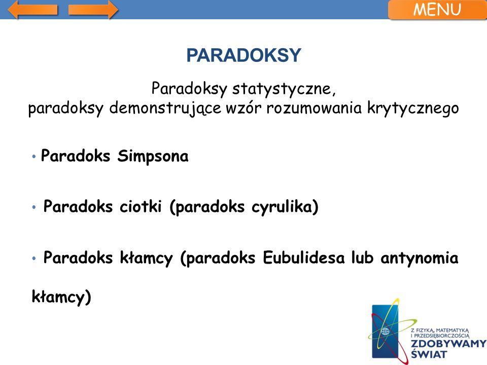 Paradoks Simpsona Paradoks ciotki (paradoks cyrulika) Paradoks kłamcy (paradoks Eubulidesa lub antynomia kłamcy) MENU Paradoksy statystyczne, paradoks