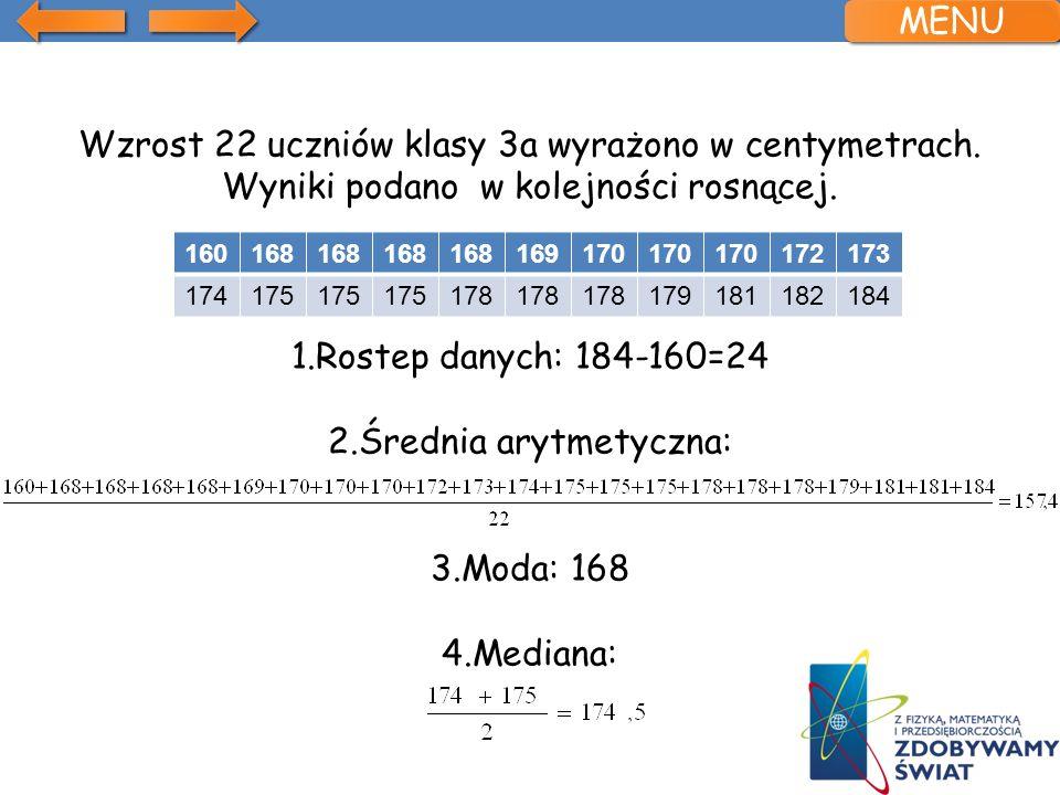 Wzrost 22 uczniów klasy 3a wyrażono w centymetrach. Wyniki podano w kolejności rosnącej. 1.Rostep danych: 184-160=24 2.Średnia arytmetyczna: 3.Moda: 1