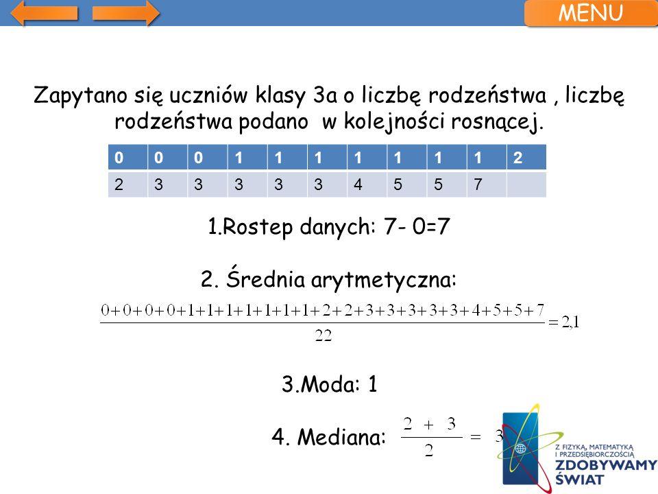 Zapytano się uczniów klasy 3a o liczbę rodzeństwa, liczbę rodzeństwa podano w kolejności rosnącej. 1.Rostep danych: 7- 0=7 2. Średnia arytmetyczna: 3.