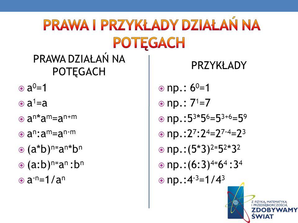 PRAWA DZIAŁAŃ NA POTĘGACH a 0 =1 a 1 =a a n *a m =a n+m a n :a m =a n-m (a*b) n= a n *b n (a:b) n= a n :b n a -n =1/a n PRZYKŁADY np.: 6 0 =1 np.: 7 1