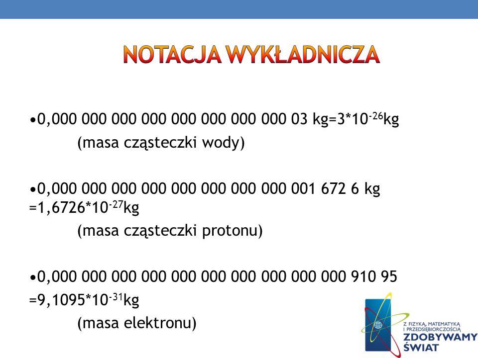 0,000 000 000 000 000 000 000 000 03 kg=3*10 -26 kg (masa cząsteczki wody) 0,000 000 000 000 000 000 000 000 001 672 6 kg =1,6726*10 -27 kg (masa cząs