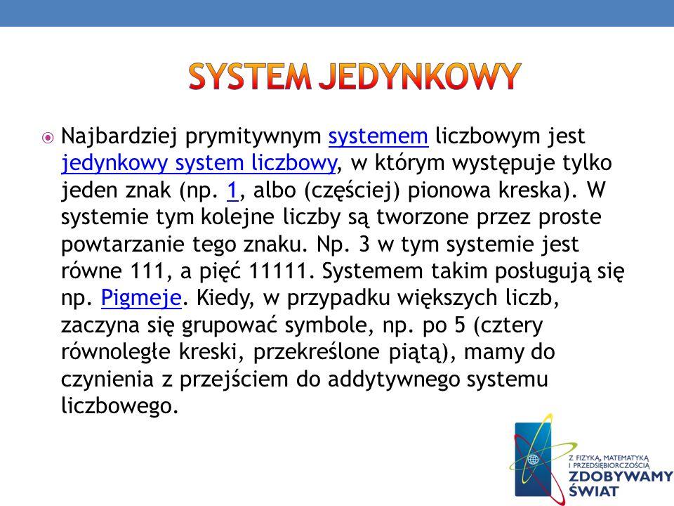 Najbardziej prymitywnym systemem liczbowym jest jedynkowy system liczbowy, w którym występuje tylko jeden znak (np. 1, albo (częściej) pionowa kreska)