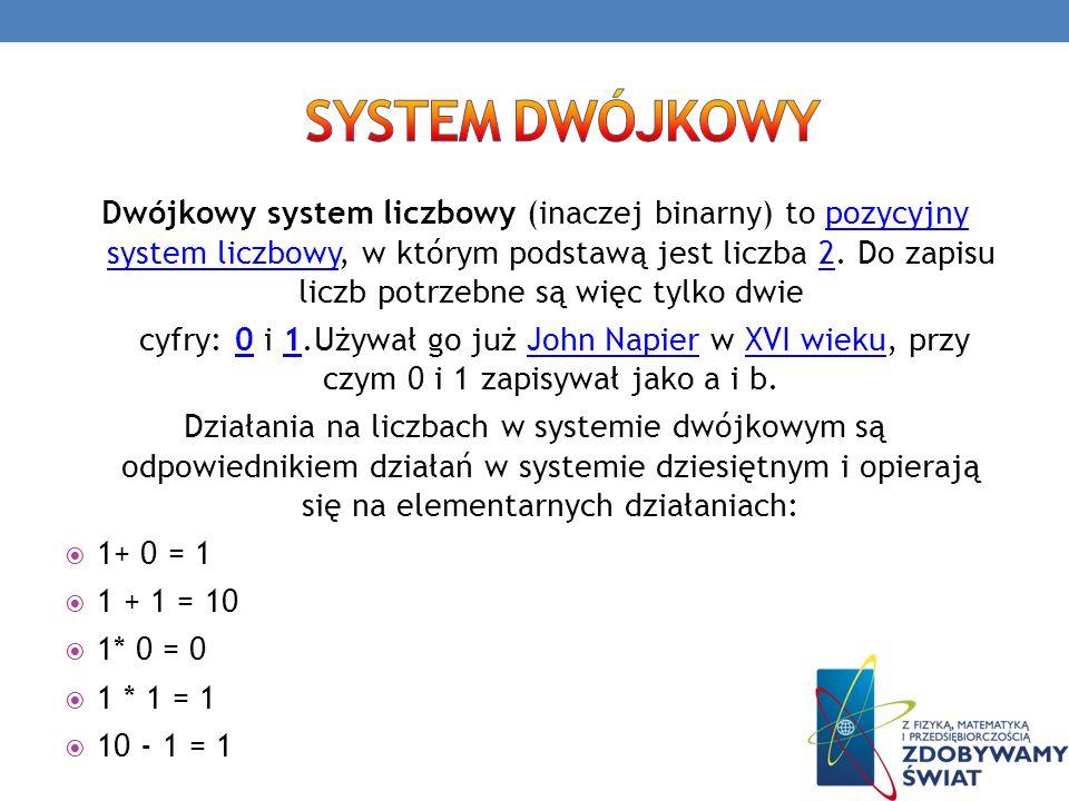 Dwójkowy system liczbowy (inaczej binarny) to pozycyjny system liczbowy, w którym podstawą jest liczba 2. Do zapisu liczb potrzebne są więc tylko dwie