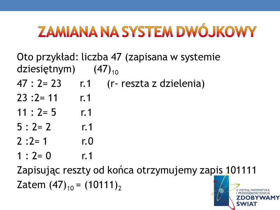 Oto przykład: liczba 47 (zapisana w systemie dziesiętnym) (47) 10 47 : 2= 23 r.1 (r- reszta z dzielenia) 23 :2= 11 r.1 11 : 2= 5 r.1 5 : 2= 2 r.1 2 :2
