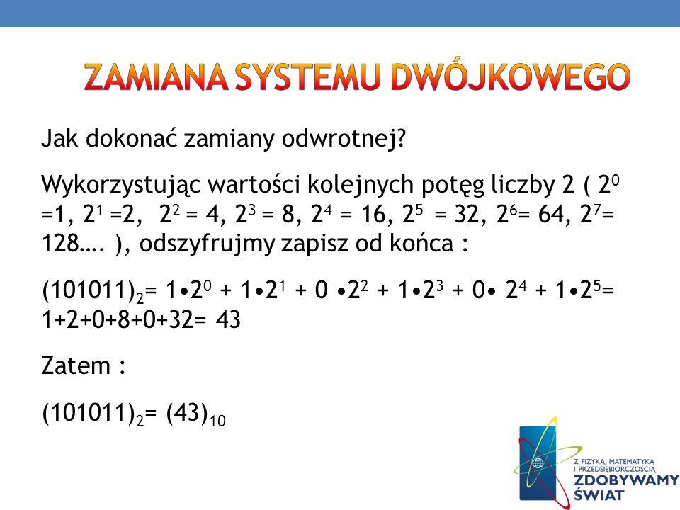 Jak dokonać zamiany odwrotnej? Wykorzystując wartości kolejnych potęg liczby 2 ( 2 0 =1, 2 1 =2, 2 2 = 4, 2 3 = 8, 2 4 = 16, 2 5 = 32, 2 6 = 64, 2 7 =