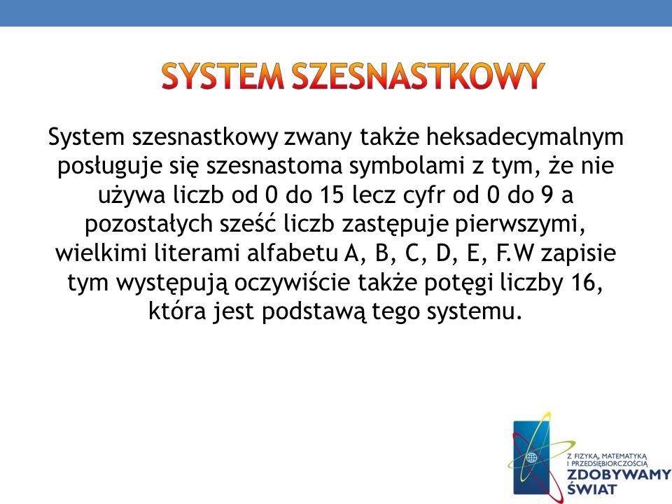 System szesnastkowy zwany także heksadecymalnym posługuje się szesnastoma symbolami z tym, że nie używa liczb od 0 do 15 lecz cyfr od 0 do 9 a pozosta