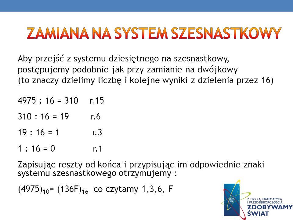 Aby przejść z systemu dziesiętnego na szesnastkowy, postępujemy podobnie jak przy zamianie na dwójkowy (to znaczy dzielimy liczbę i kolejne wyniki z d