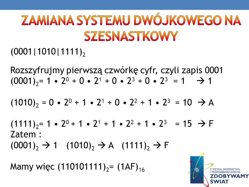 (0001|1010|1111) 2 Rozszyfrujmy pierwszą czwórkę cyfr, czyli zapis 0001 (0001) 2 = 1 2 0 + 0 2 1 + 0 2 3 + 0 2 3 = 1 1 (1010) 2 = 0 2 0 + 1 2 1 + 0 2