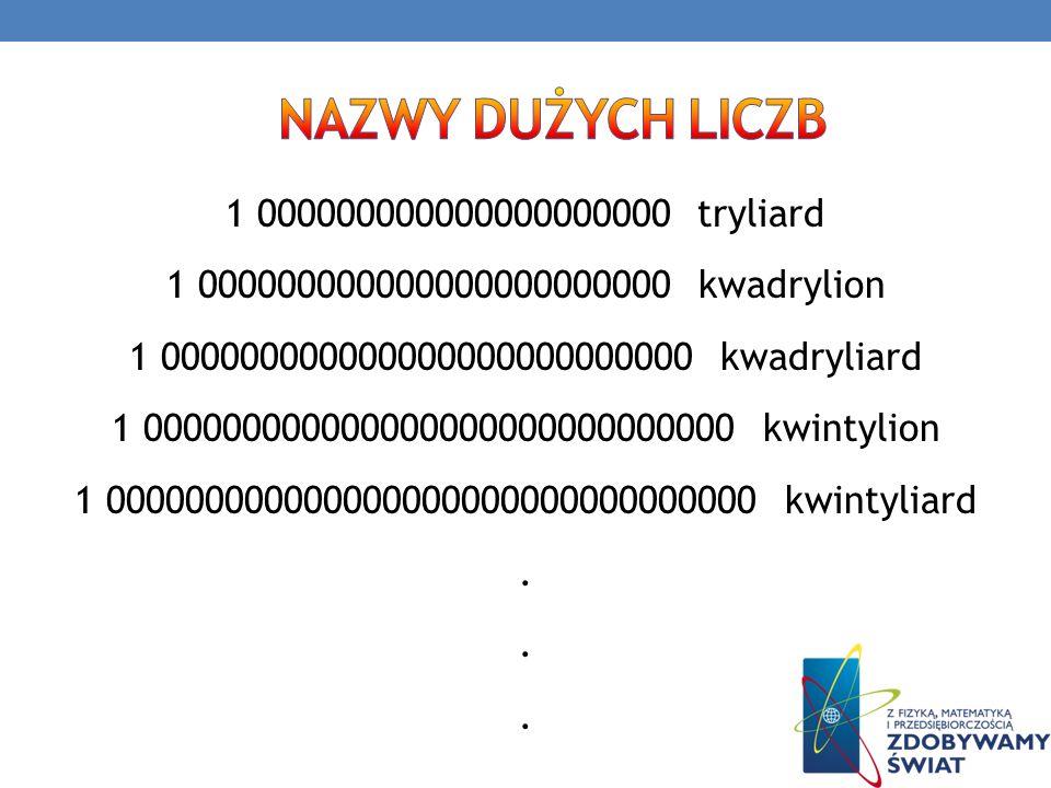 … i tak dodając po trzy zera tworzymy kolejne liczby olbrzymy: sekstylion, sekstyliard, septylion, septyliard, oktylion, oktyliard, nonylion, nonyliard, decylion, decyliard, undecylion, undecyliard, dodecylion, dodecyliard, tridecylion, tridecyliard, kwatuordecylion, kwatuordecyliard, kwindecylion, kwindecyliard, seksdecylion, seksdecyliard, centylion….