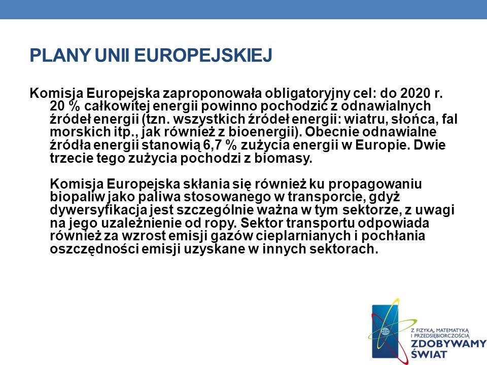 PLANY UNII EUROPEJSKIEJ Komisja Europejska zaproponowała obligatoryjny cel: do 2020 r. 20 % całkowitej energii powinno pochodzić z odnawialnych źródeł