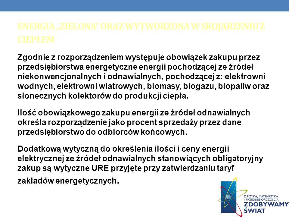 ENERGIA ZIELONA ORAZ WYTWORZONA W SKOJARZENIU Z CIEPŁEM Zgodnie z rozporządzeniem występuje obowiązek zakupu przez przedsiębiorstwa energetyczne energ
