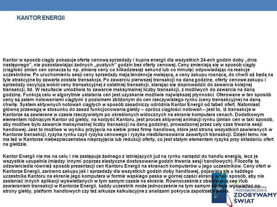 KANTOR ENERGII Kantor w sposób ciągły pokazuje ofertę cenową sprzedaży i kupna energii dla wszystkich 24-ech godzin doby dnia następnego, nie pozostaw