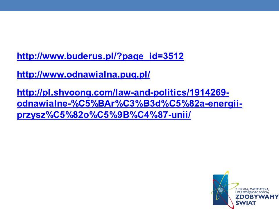 http://www.buderus.pl/?page_id=3512 http://www.odnawialna.puq.pl/ http://pl.shvoong.com/law-and-politics/1914269- odnawialne-%C5%BAr%C3%B3d%C5%82a-ene