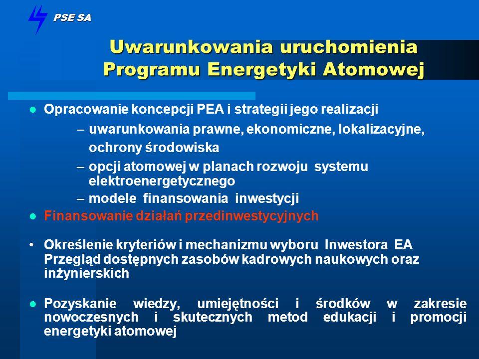 PSE SA Uwarunkowania uruchomienia Programu Energetyki Atomowej Opracowanie koncepcji PEA i strategii jego realizacji –uwarunkowania prawne, ekonomiczn