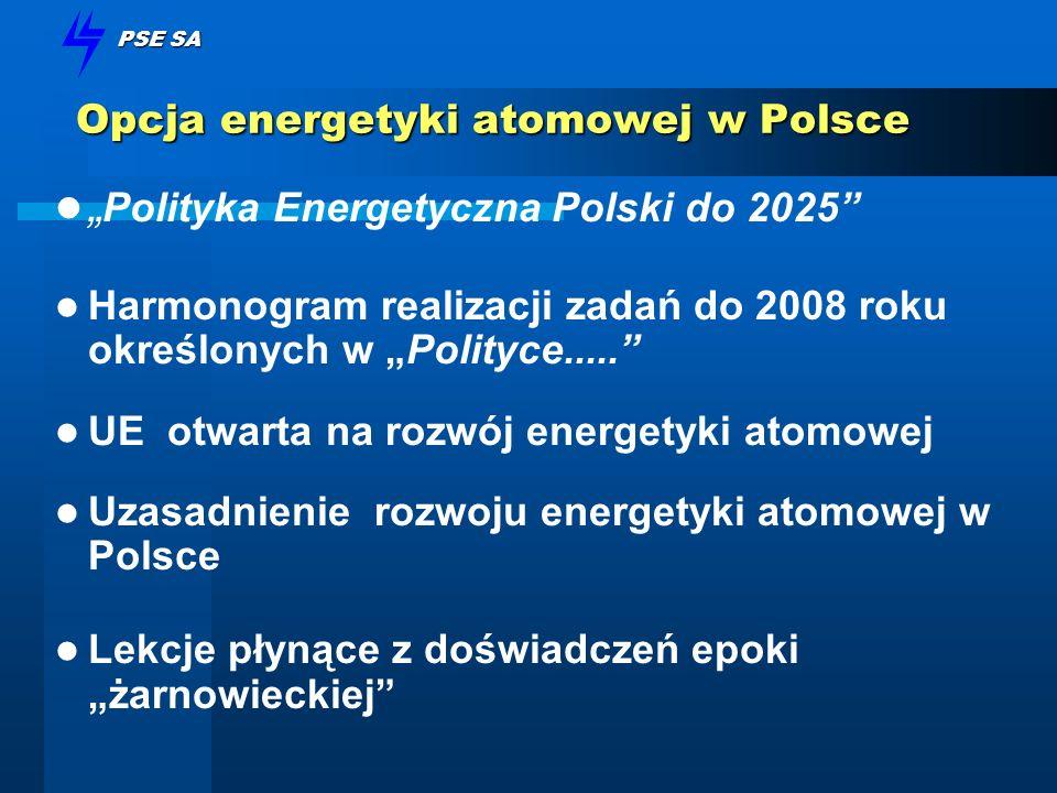 PSE SA Opcja energetyki atomowej w Polsce Polityka Energetyczna Polski do 2025 Harmonogram realizacji zadań do 2008 roku określonych w Polityce..... U