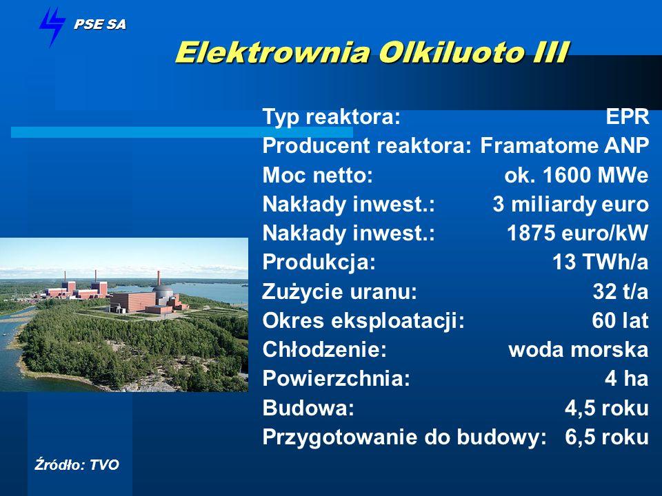 PSE SA Elektrownia Olkiluoto III Typ reaktora: EPR Producent reaktora:Framatome ANP Moc netto:ok. 1600 MWe Nakłady inwest.:3 miliardy euro Nakłady inw