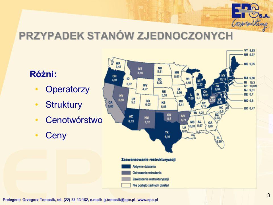 3 PRZYPADEK STANÓW ZJEDNOCZONYCH Różni: Operatorzy Struktury Cenotwórstwo Ceny Prelegent: Grzegorz Tomasik, tel.