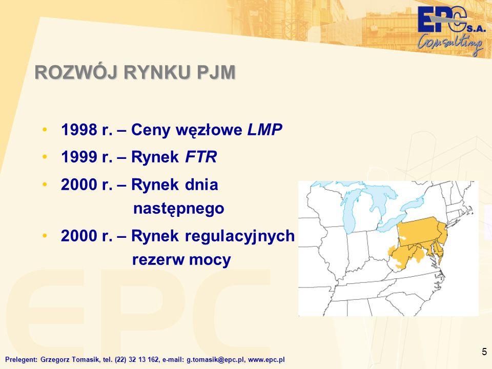 5 ROZWÓJ RYNKU PJM 1998 r.– Ceny węzłowe LMP 1999 r.
