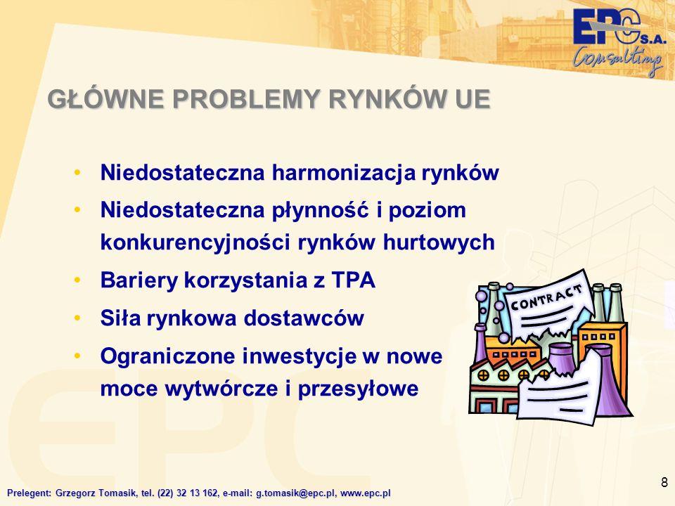 8 GŁÓWNE PROBLEMY RYNKÓW UE Niedostateczna harmonizacja rynków Niedostateczna płynność i poziom konkurencyjności rynków hurtowych Bariery korzystania z TPA Siła rynkowa dostawców Ograniczone inwestycje w nowe moce wytwórcze i przesyłowe Prelegent: Grzegorz Tomasik, tel.