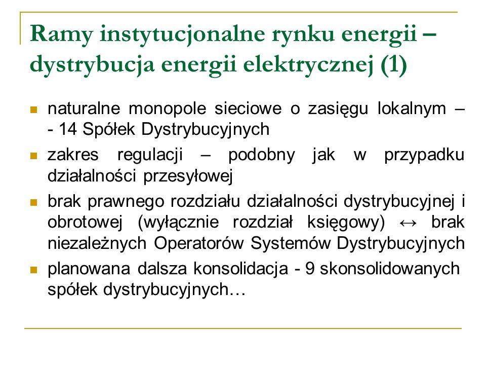 Ramy instytucjonalne rynku energii – dystrybucja energii elektrycznej (1) naturalne monopole sieciowe o zasięgu lokalnym – - 14 Spółek Dystrybucyjnych
