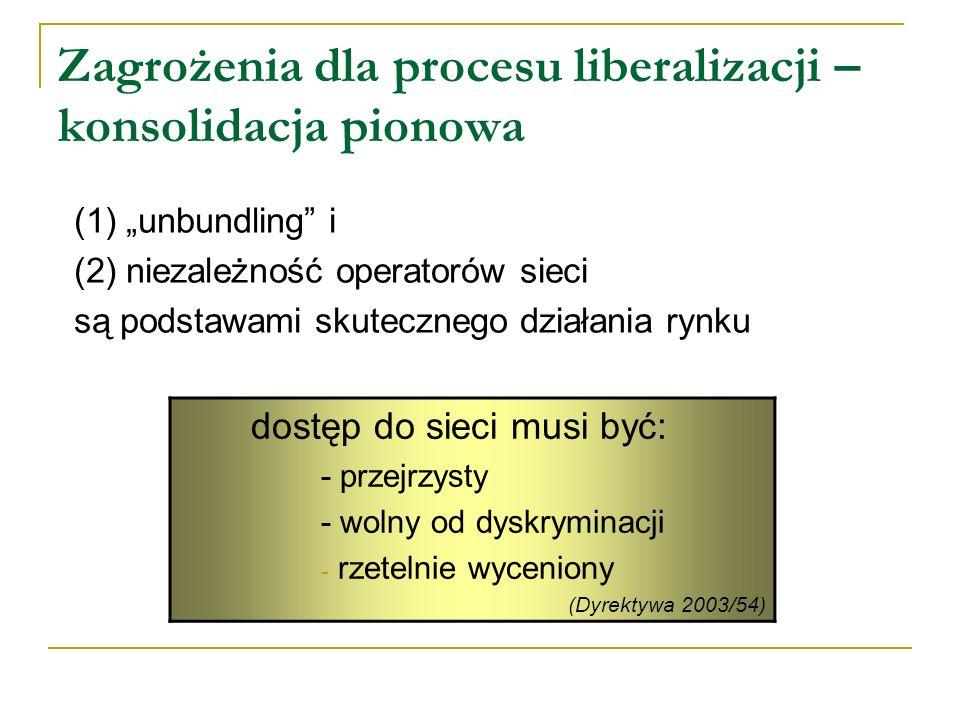 Zagrożenia dla procesu liberalizacji – konsolidacja pionowa (1) unbundling i (2) niezależność operatorów sieci są podstawami skutecznego działania ryn