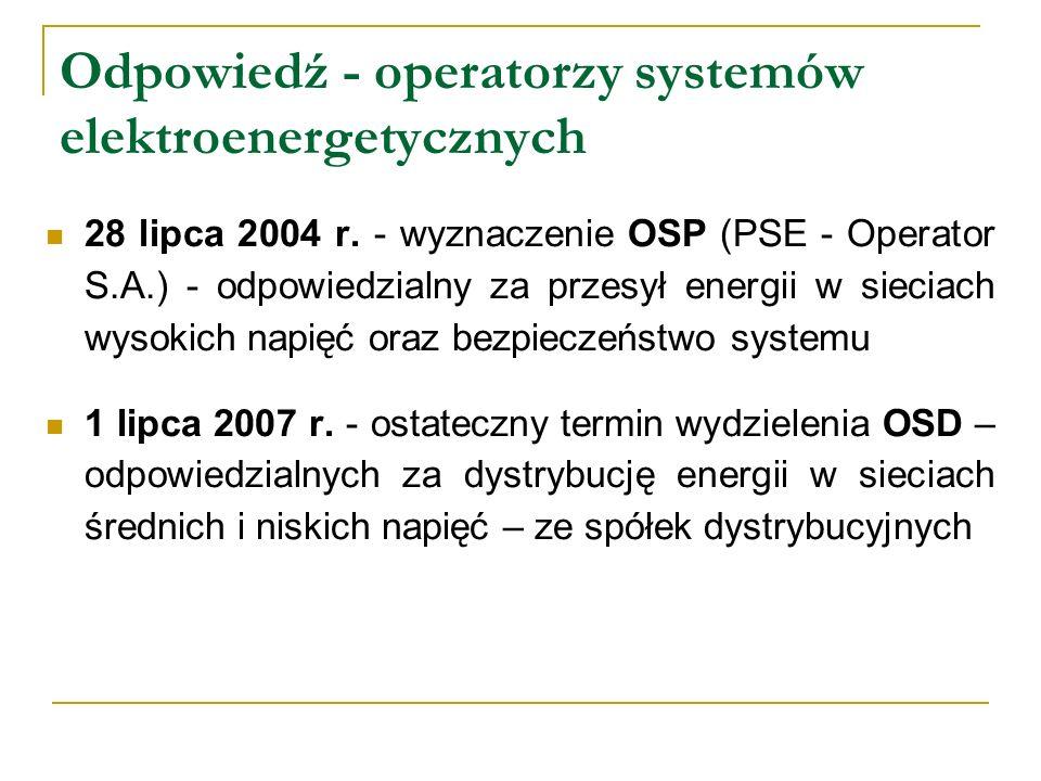 Odpowiedź - operatorzy systemów elektroenergetycznych 28 lipca 2004 r. - wyznaczenie OSP (PSE - Operator S.A.) - odpowiedzialny za przesył energii w s