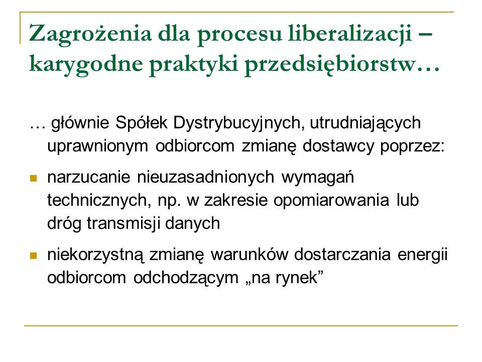 Zagrożenia dla procesu liberalizacji – karygodne praktyki przedsiębiorstw… … głównie Spółek Dystrybucyjnych, utrudniających uprawnionym odbiorcom zmia
