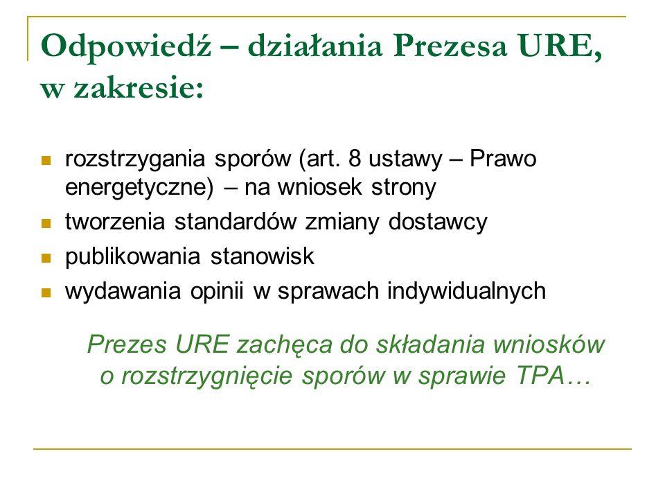 Odpowiedź – działania Prezesa URE, w zakresie: rozstrzygania sporów (art. 8 ustawy – Prawo energetyczne) – na wniosek strony tworzenia standardów zmia