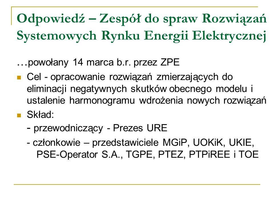 Odpowiedź – Zespół do spraw Rozwiązań Systemowych Rynku Energii Elektrycznej … powołany 14 marca b.r. przez ZPE Cel - opracowanie rozwiązań zmierzając