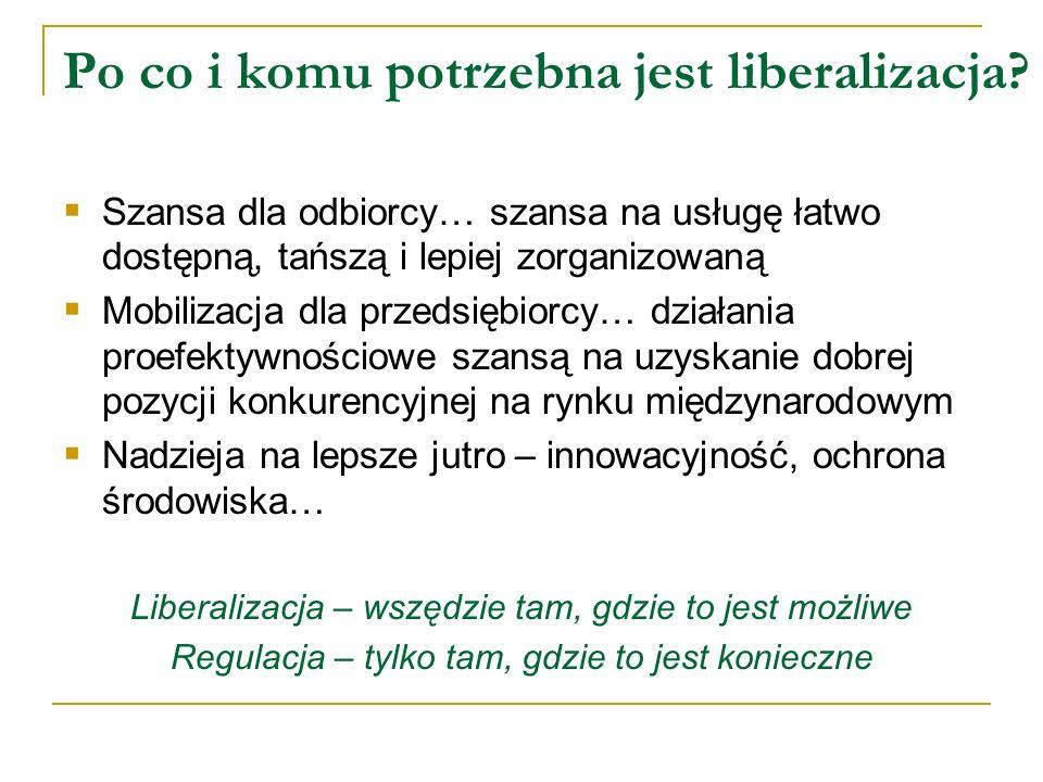 Po co i komu potrzebna jest liberalizacja? Szansa dla odbiorcy… szansa na usługę łatwo dostępną, tańszą i lepiej zorganizowaną Mobilizacja dla przedsi