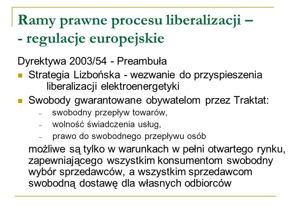 Ramy prawne procesu liberalizacji – - regulacje europejskie Dyrektywa 2003/54 - Preambuła Strategia Lizbońska - wezwanie do przyspieszenia liberalizac