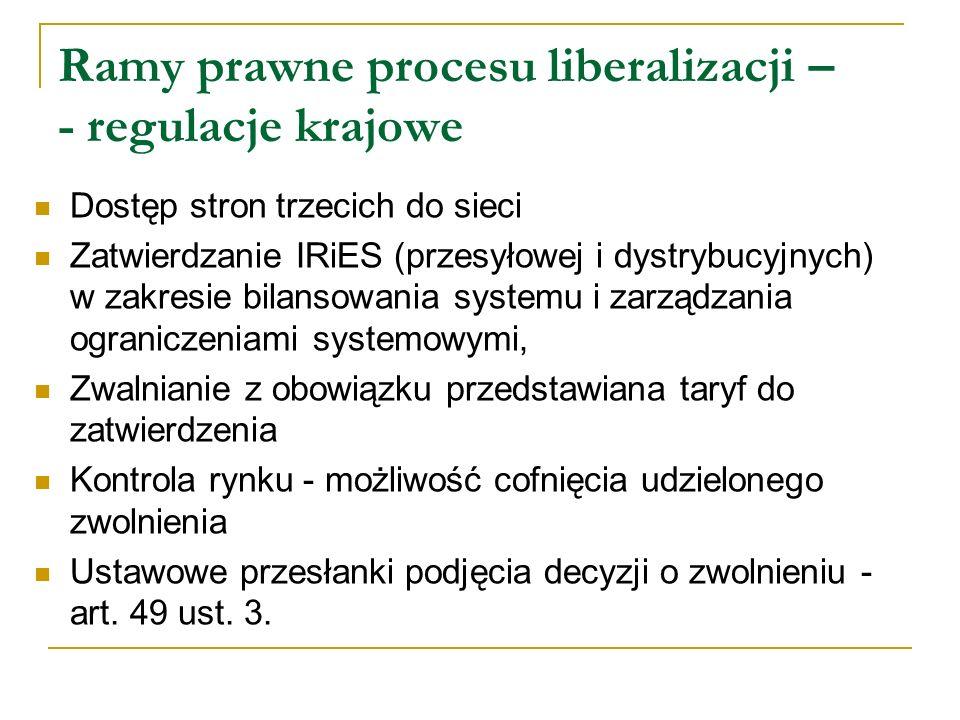 Ramy prawne procesu liberalizacji – - regulacje krajowe Dostęp stron trzecich do sieci Zatwierdzanie IRiES (przesyłowej i dystrybucyjnych) w zakresie