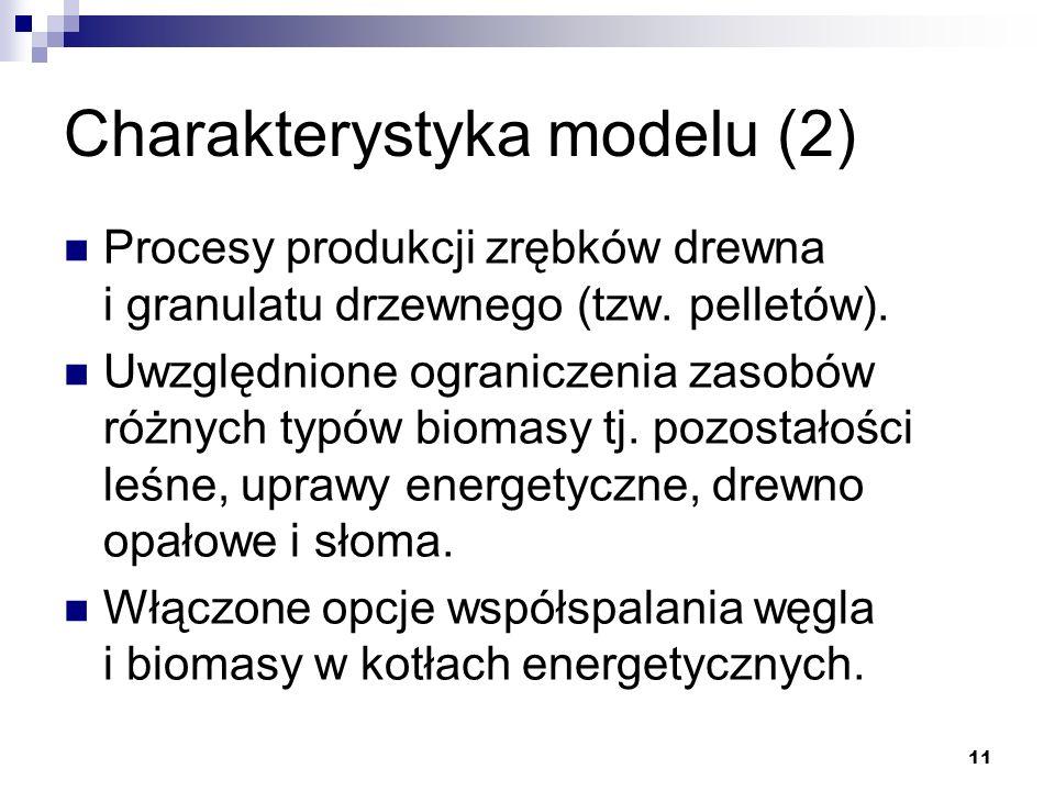 11 Charakterystyka modelu (2) Procesy produkcji zrębków drewna i granulatu drzewnego (tzw. pelletów). Uwzględnione ograniczenia zasobów różnych typów