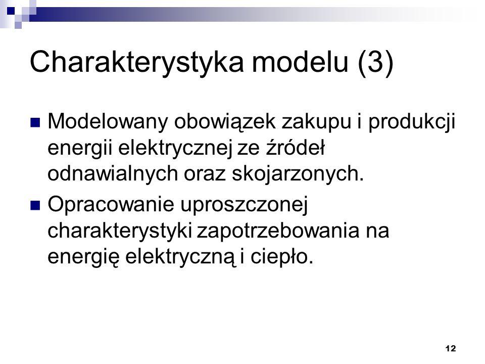 12 Charakterystyka modelu (3) Modelowany obowiązek zakupu i produkcji energii elektrycznej ze źródeł odnawialnych oraz skojarzonych. Opracowanie upros