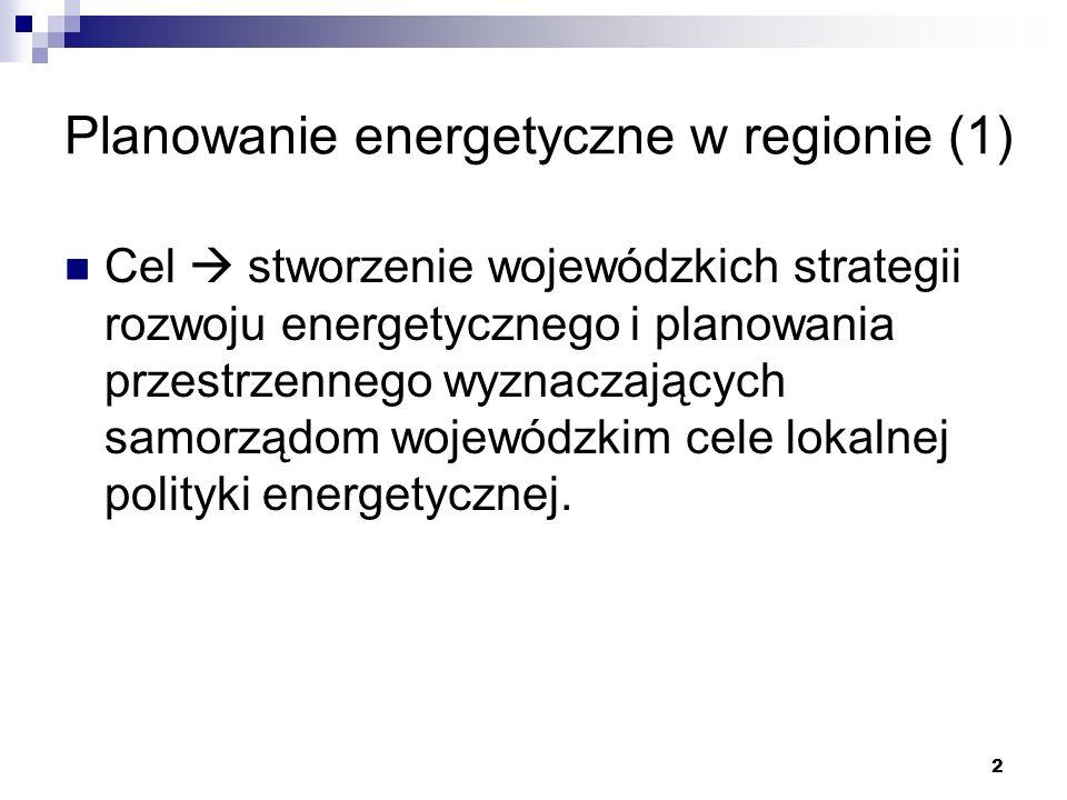 2 Planowanie energetyczne w regionie (1) Cel stworzenie wojewódzkich strategii rozwoju energetycznego i planowania przestrzennego wyznaczających samor