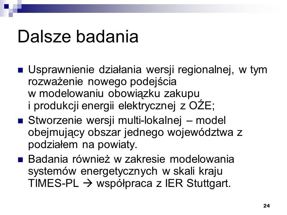 24 Dalsze badania Usprawnienie działania wersji regionalnej, w tym rozważenie nowego podejścia w modelowaniu obowiązku zakupu i produkcji energii elek