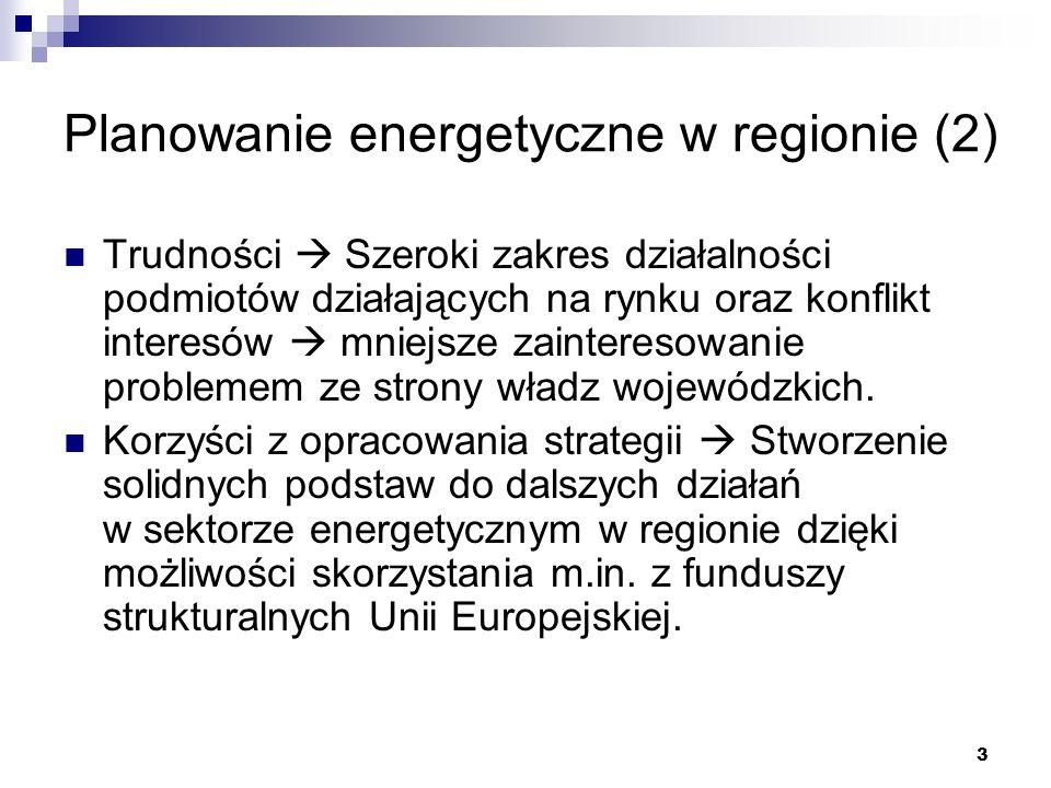 3 Planowanie energetyczne w regionie (2) Trudności Szeroki zakres działalności podmiotów działających na rynku oraz konflikt interesów mniejsze zainte