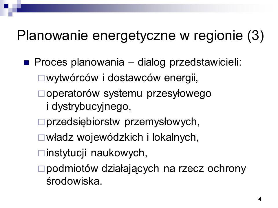 4 Planowanie energetyczne w regionie (3) Proces planowania – dialog przedstawicieli: wytwórców i dostawców energii, operatorów systemu przesyłowego i