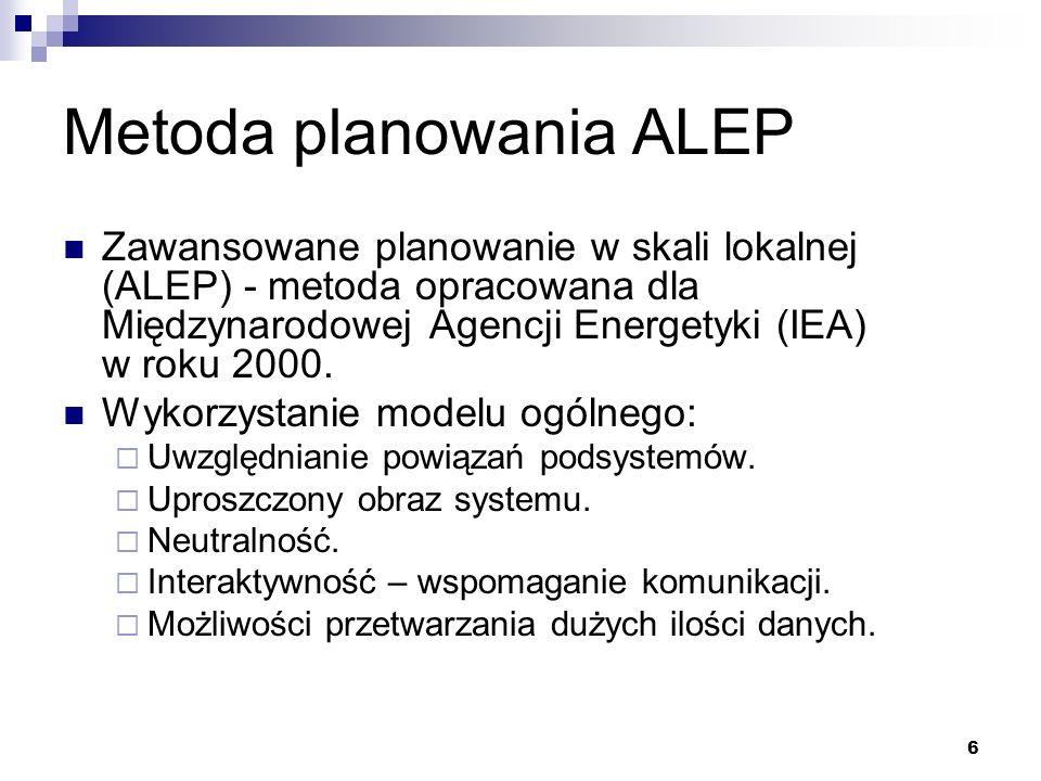7 Cele strategiczne Kryteria oceny Analiza aktualnej sytuacji Szczegółowe analizy podsystemów Model ogólny - Optymalizacja - Symulacja Sprzężenie zwrotne Długoterminowy plan energetyczny i strategia jego wdrażania Źródło: ALEP Handbook, IEA 2000 Koncepcja ALEP