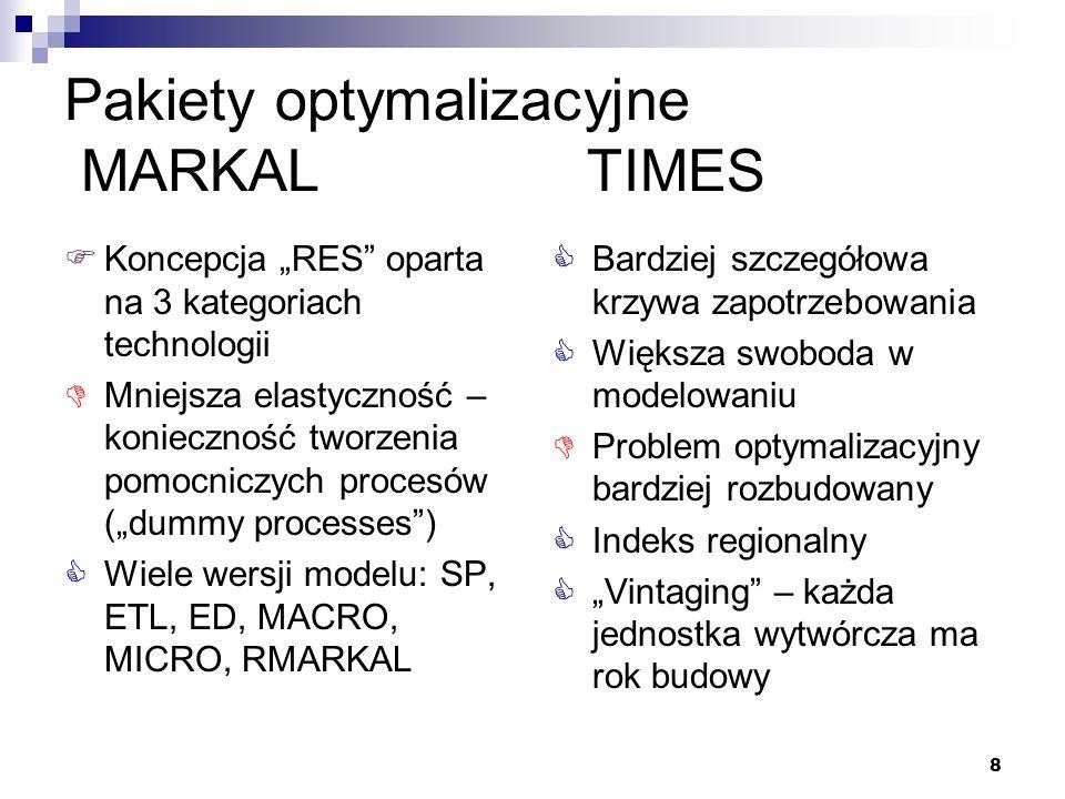8 Pakiety optymalizacyjne MARKAL TIMES Koncepcja RES oparta na 3 kategoriach technologii Mniejsza elastyczność – konieczność tworzenia pomocniczych pr