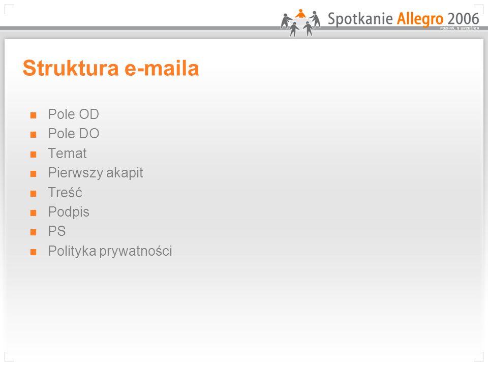 Struktura e-maila Pole OD Pole DO Temat Pierwszy akapit Treść Podpis PS Polityka prywatności